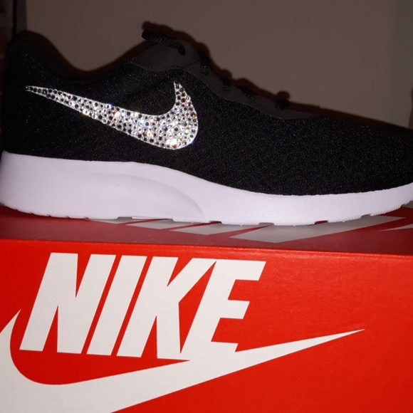 63bd4d26fee2 Nike Tanjun black and white with bling